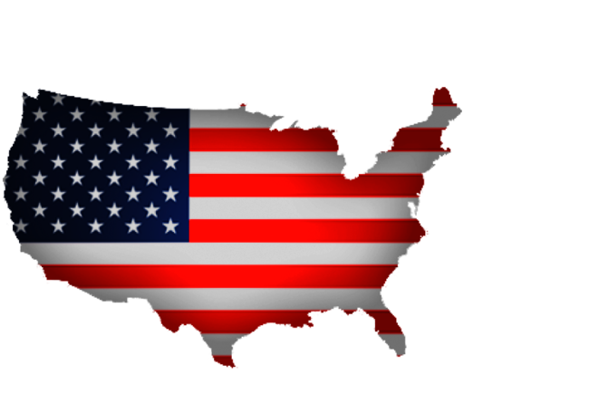 Icon of the outline map of USA with colors of the USA flag